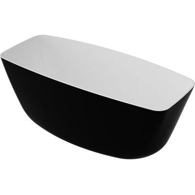 Omnires Marble+ Ferrara wanna wolnostojąca 156x70 cm biały/czarny połysk FERRARA156BCP