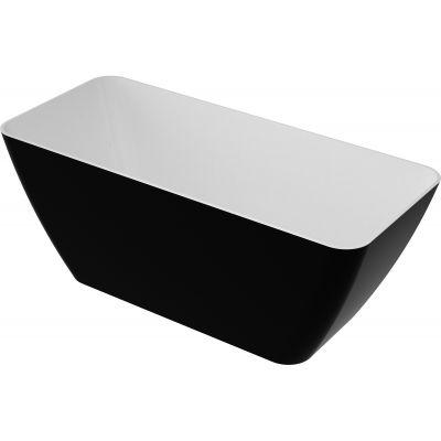 Omnires Marble + Parma wanna wolnostojąca 159x70 cm biały/czarny połysk PARMAWWBCP