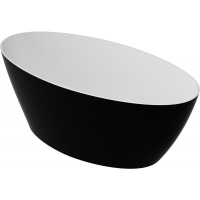 Omnires Marble+ Siena wanna wolnostojąca 160x80 cm biały/czarny połysk SIENAWWBCP