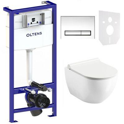 Zestaw Ravak Uni Chrome RimOff miska WC wisząca z deską wolnoopadającą i stelaż podtynkowy Oltens Triberg Torne 5w1 z przyciskiem spłukującym chrom błyszczący (X01535, X01550, 58300100)
