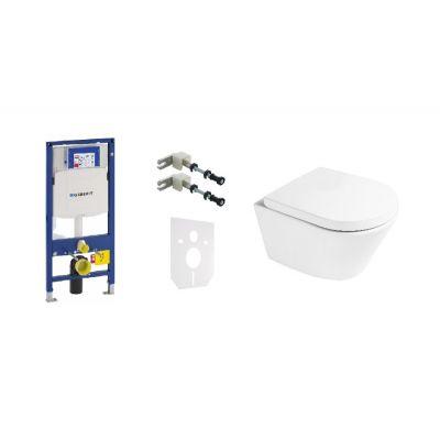 Zestaw Geberit Duofix stelaż podtynkowy i miska WC wisząca PureRim SmartClean z deską wolnoopadającą Oltens Jog (111320005, 111815001, 49301000, 42501000, 45101000)