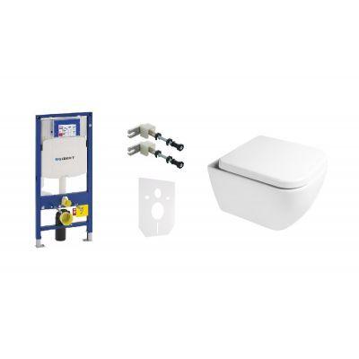 Zestaw Geberit Duofix stelaż podtynkowy i miska WC wisząca PureRim SmartClean z deską wolnoopadającą Oltens Vernal (111320005, 111815001, 49301000, 42502000, 45103000)