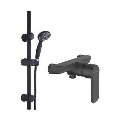 Zestaw Invena Dark komplet prysznicowy z drążkiem i baterią Siros czarny mat (AU02001, BN90004)