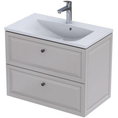 Zestaw Oristo Montebianco Amelia umywalka z szafką 80 cm biały/piaskowy mat (OR47SD2S8010,UMEAM8092)