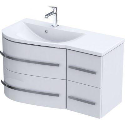Zestaw Oristo Opal umywalka z szafką 90 cm lewy biały/połysk (OR30SD4S901L, UMEOP9092L)