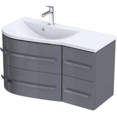 Zestaw Oristo Opal umywalka z szafką 90 cm lewy biały/szary połysk (OR30SD4S903L, UMEOP9092L)