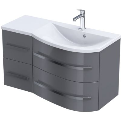 Zestaw Oristo Opal umywalka z szafką 90 cm prawy biały/szary połysk (OR30SD4S903P, UMEOP9092P)
