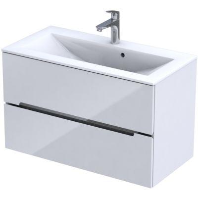 Zestaw Oristo Silver umywalka z szafką 90 cm biały/połysk (OR33SD2S901, UMESI9092)