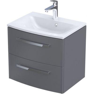 Zestaw Oristo Wave umywalka z szafką 60 cm biały/szary mat (OR39SD2S604, UMEWA6092)
