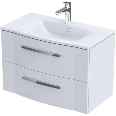 Zestaw Oristo Wave umywalka z szafką 80 cm biały/połysk (OR39SD2S801, UMEWA8092)