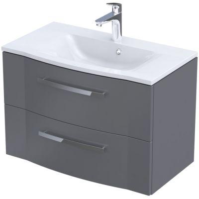 Zestaw Oristo Wave umywalka z szafką 80 cm biały/szary mat (OR39SD2S804, UMEWA8092)