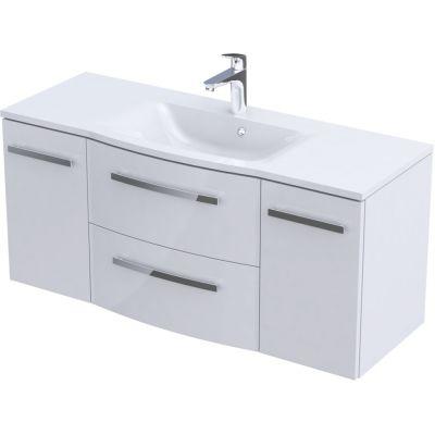Zestaw Oristo Wave umywalka z szafką 120 cm biały/połysk (OR39SD4S1201, UMEWA12092)