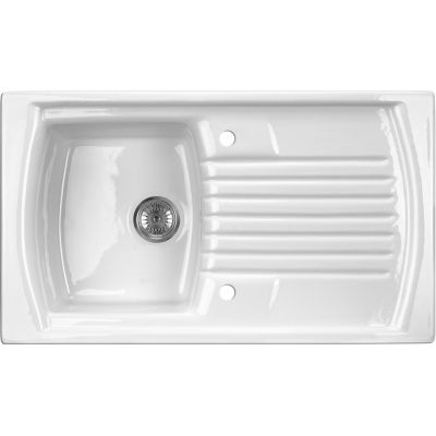 Deante Lusitano zlewozmywak ceramiczny 1-komorowy 86x50 cm biały ZCL611N