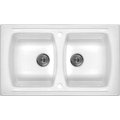 Deante Lusitano zlewozmywak ceramiczny 2-komorowy 86x50 cm biały ZCL620N