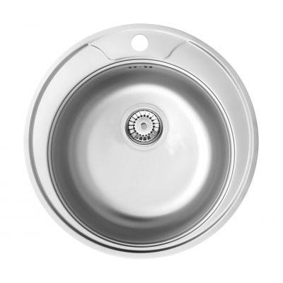 Deante Cornetto Plus zlewozmywak stalowy okrągły 48 cm dekor ZHC3813