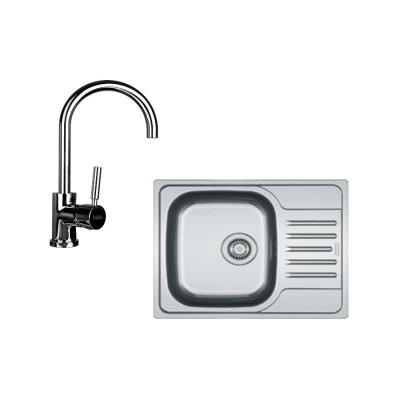 Zestaw Franke Polar 611-60 zlewozmywak stalowy z baterią kuchenną Lula chrom (1010251239, 1150071665)