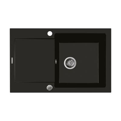 Oltens Gravan zlewozmywak granitowy 1-komorowy z krótkim ociekaczem 79x50 cm czarny mat 72100300