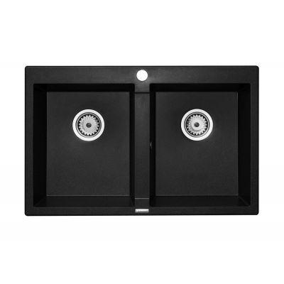 Pyramis Studio zlewozmywak granitowy 78x50 cm czarny 070005401