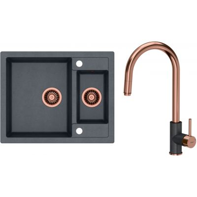 Zestaw Quadron Morgan 150 zlewozmywak granitowy z baterią kuchenną Jennifer czarny metalik/miedziany (HB8214U8C1, BW6007PVDBSC1U8)