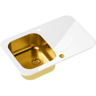 Quadron Glen 211 HardQ zlewozmywak 78x50 cm stalowy złoty /szkło białe HB8078SB3FG1