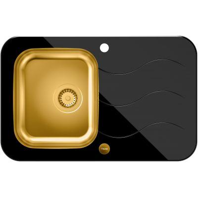 Quadron Glen 211 HardQ zlewozmywak 78x50 cm stalowy złoty /szkło czarne HB8078SC3FG1