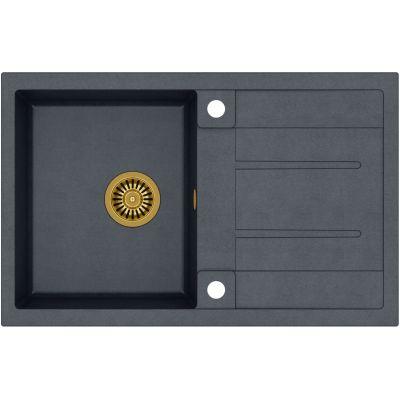 Quadron Morgan 111 zlewozmywak 78x50 cm z GraniteQ wpuszczany czarny metalik/złoty HB8203U8-G1