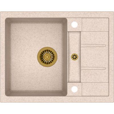 Quadron Morgan 116 zlewozmywak 62x50 cm z GraniteQ wpuszczany beżowy metalik/złoty HB8210U3-G1