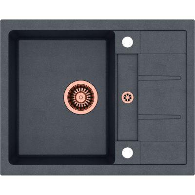 Quadron Morgan 116 zlewozmywak 62x50 cm z GraniteQ wpuszczany czarny metalik/miedziany HB8210U8-C1
