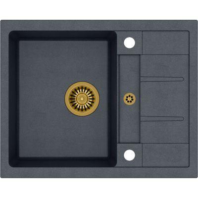Quadron Morgan 116 zlewozmywak 62x50 cm z GraniteQ wpuszczany czarny metalik/złoty HB8210U8-G1