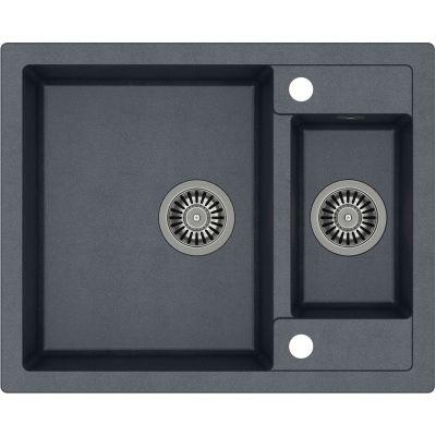 Quadron Morgan 150 zlewozmywak 62,5x50,5 cm z GraniteQ wpuszczany czarny metalik/stal szlachetna HB8214U8-BS