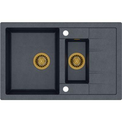 Quadron Morgan 156 zlewozmywak 78x50 cm z GraniteQ wpuszczany czarny metalik/złoty HB8224U8-G1