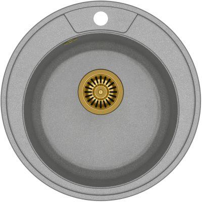 Quadron Morgan 210 zlewozmywak 48,5 cm z GraniteQ wpuszczany szary metalik/złoty HB8301U5-G1