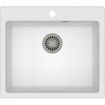 Quadron Morgan 110 zlewozmywak 57x50 cm z GraniteQ wpuszczany biały metalik/stal szlachetna HB8304U1-BS