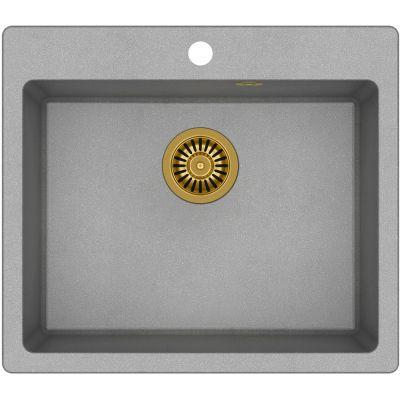 Quadron Morgan 110 zlewozmywak 57x50 cm z GraniteQ wpuszczany szary metalik/złoty HB8304U5-G1