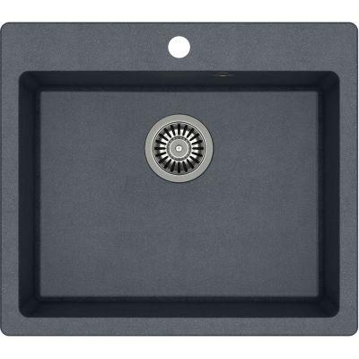 Quadron Morgan 110 zlewozmywak 57x50 cm z GraniteQ wpuszczany czarny metalik/stal szlachetna HB8304U8-BS