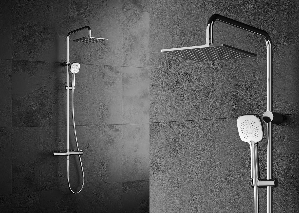 Oltens Atran (S) zestaw prysznicowy termostatyczny z deszczownicą kwadratową chrom 36501100