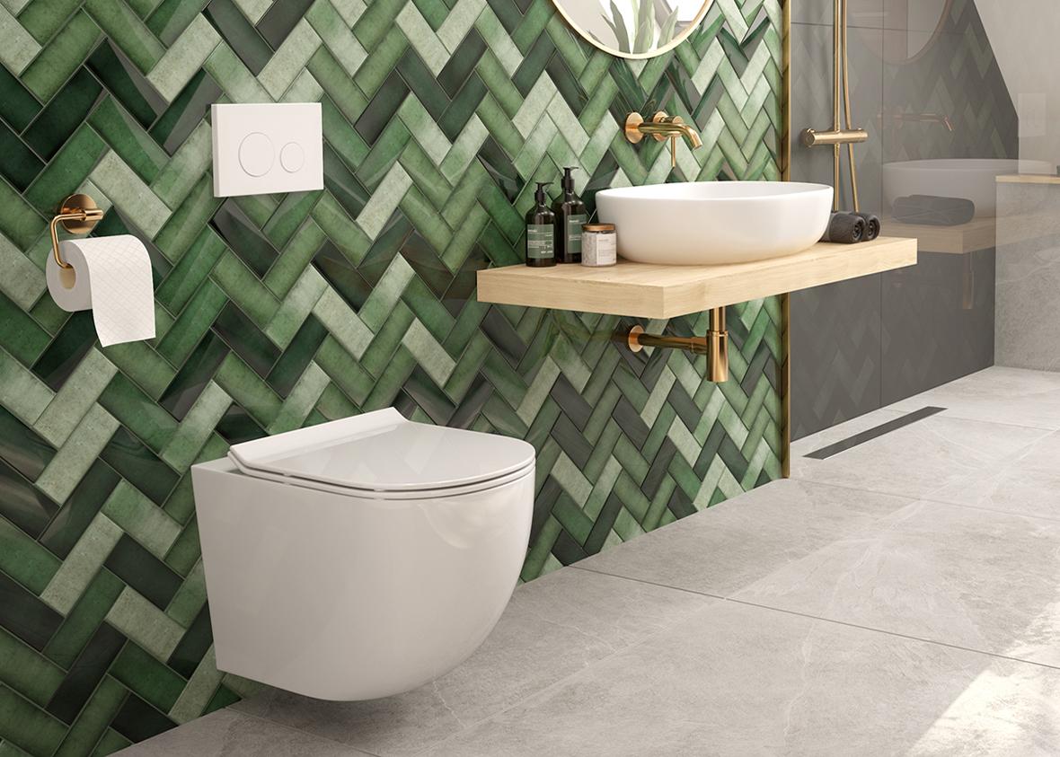 Zestaw Oltens Hamnes miska WC wisząca PureRim z powłoką SmartClean z deską wolnoopadającą Slim 42515000