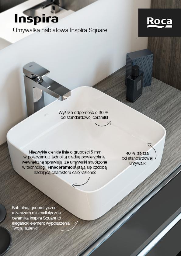 Roca Inspira Square umywalka 50x37 cm nablatowa biała A327530000