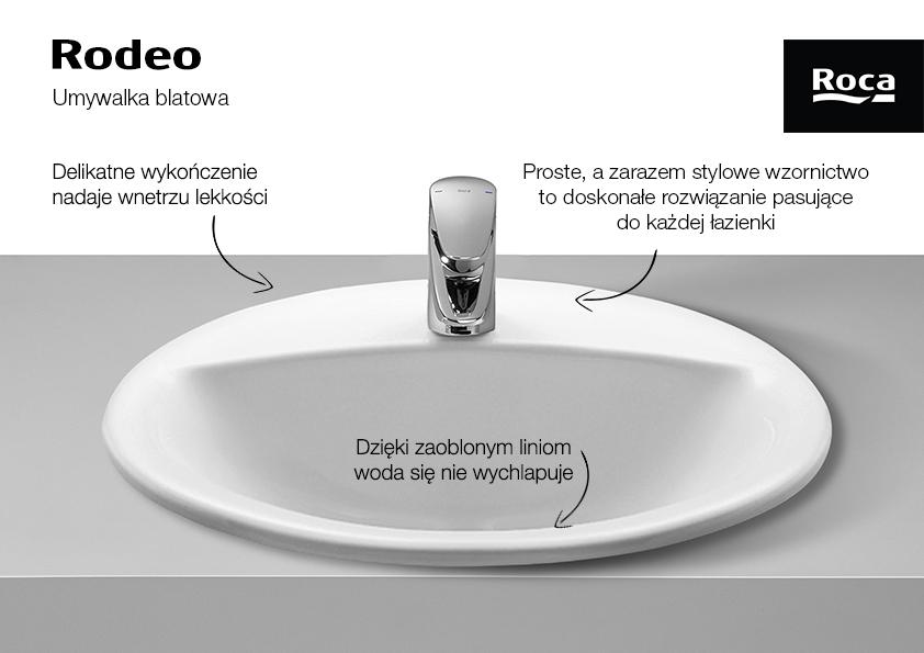 Roca Rodeo umywalka 52x41 cm blatowa biała A327866000