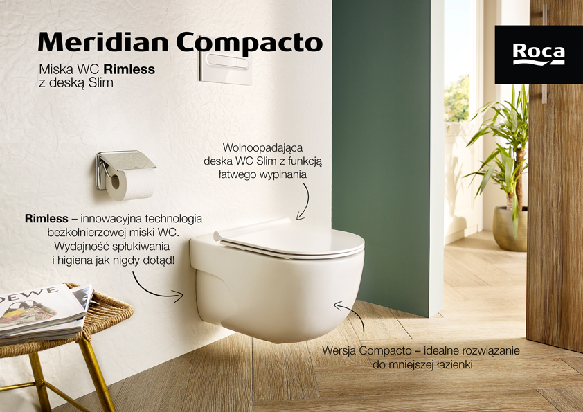 Roca Meridian-N Compacto miska WC wisząca Rimless z deską wolnoopadającą slim biała A34H242000