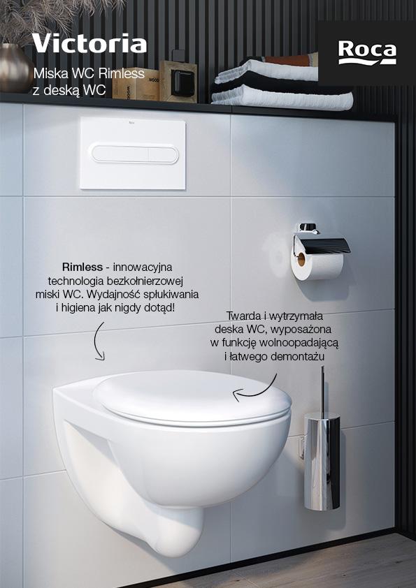 Roca Victoria miska WC Rimless wisząca z deską wolnoopadającą biała A34H394000