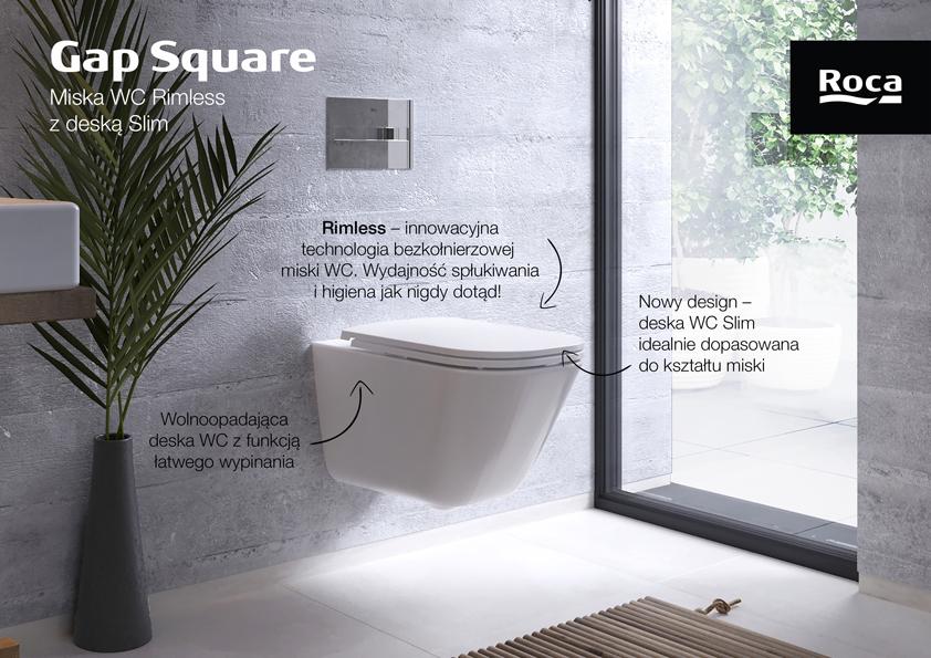 Roca Gap Square miska WC wisząca Rimless z deską sedesową wolnoopadającą Slim biała A34H470000