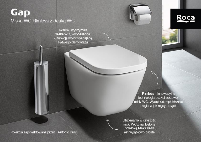 Zestaw Roca Gap miska WC wisząca Rimless Maxi Clean z deską wolnoopadającą biała (A34647L00M, A80148200U)