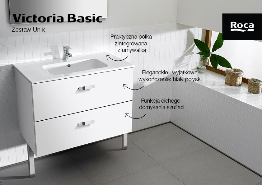 Roca Victoria Basic Unik zestaw łazienkowy 80 cm umywalka z szafką biały połysk A855852806