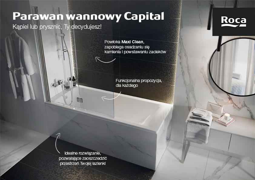 Roca Capital parawan nawannowy 2-częściowy 115 cm szkło przezroczyste AM4111512M