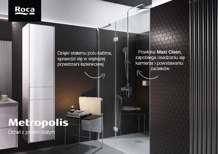 Roca Metropolis drzwi prysznicowe 100 cm szkło przezroczyste AMP3410012M